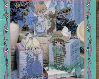 1998 plastic canvas pattern book Precious Moments tissue box covers