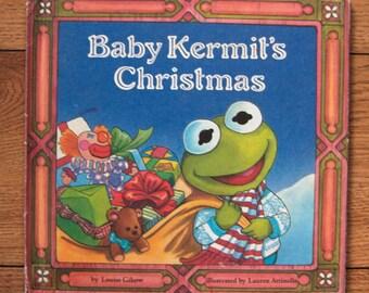 vintage 1988 children picture book Baby Kermit's Christmas Muppet babies guc