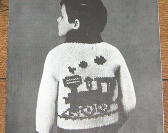 Vintage Mary Maxim Graph Style knitting pattern 4101  boys girls Cardigan  TRAIN sz 4,6