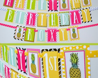 Pineapple Birthday Party Banner Fully Assembled Decorations | Pink Yellow Aqua Green | Neon Birthday | Pineapple Theme | Bright Girly Party