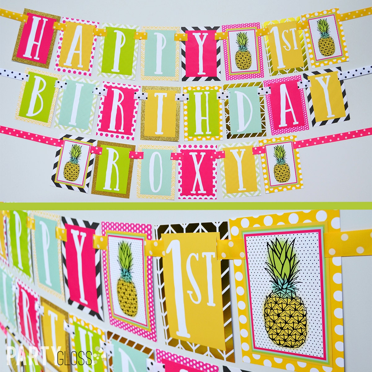 Pineapple Birthday Party Banner Fully Assembled Decorations