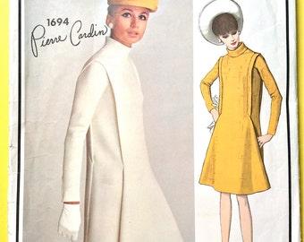 Vogue Paris Original 1694 60s Pierre Cardin Dress Semi-fitted dress bias standing collar Bias Sleeves Vintage Sewing Pattern Bust 32