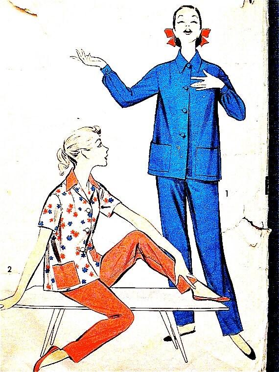1950s Women's Pajamas Pattern Advance 8227 Misses' Pajamas Lingerie Buttoned Front Yoke Pants Side Button Closure 50s Sewing Pattern Bust 34