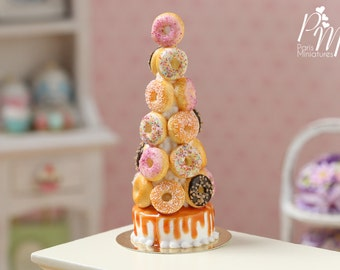 Donut tower -Made to Order - Miniature Food in 12th Scale for Dollhouse