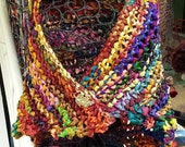 Gem-Toned Sari Silk Knitted Shawl