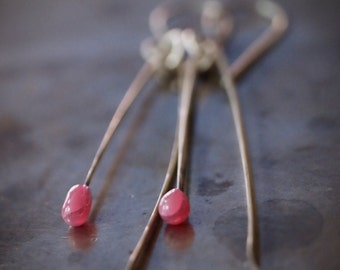 Beautiful handmade melted glass drop and hammered sterling silver stick earrings
