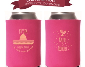 Mexican Fiesta Can Cooler Wedding Favors, Spanish Fun Wedding Party Gifts Wedding Anniversary Party Gifts Custom Beverage Can Cooler 1D13N1
