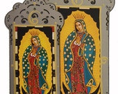 La Virgen de Guadalupe, The Virgin of Guadalupe, Catholic Icon,  Virgin Mary Art Print Collage on Steel, Large & Small, Christina Miller