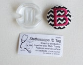 Personalized Stethoscope ID name tag - monogrammed button - black white chevron - graduation gift - one initial-  custom