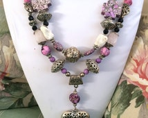 Heart of the Rodeo, Silver Pink Purple, CowGirl, Rodeo Star Necklace