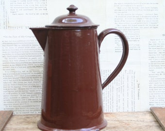 Beautiful Vintage Brown Enamelware/Graniteware Coffee Pot