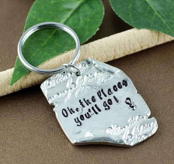 Oh the places You'll Go Keychain | Graduation KeyChain | Keychain for Graduate | Pewter Scroll Keychain | Dr. Seuss Key Chain | Gift for Him