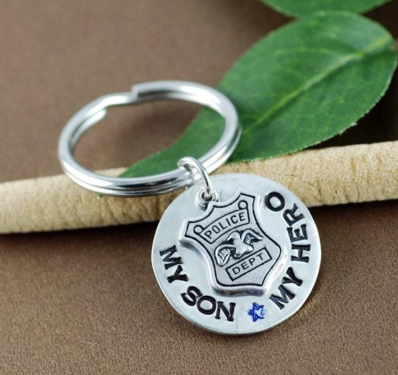 Police Dad Keychain, Badge Charm Keychain, Personalized Police Dad Jewelry, Gift for Police Dad, Police Dad Gift, Police Mom Gift