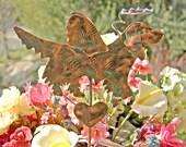 Golden Retriever Angel / Pet Memorial / Metal Yard Art / Copper Garden Art / Dog Angel / Grave Marker / Plant Stake / Patina / Outdoor Decor