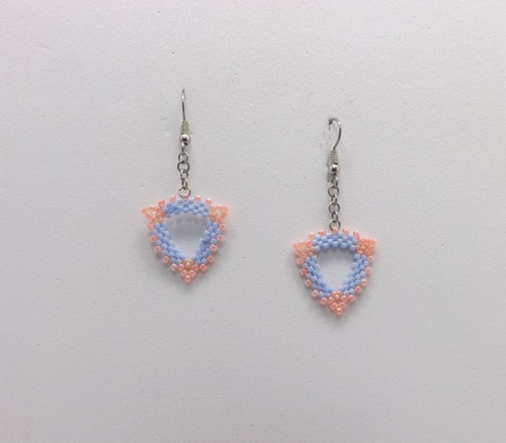 Light Blue & Peach Peyote Stitch Beaded Earrings with French earwires Sku: ER1021