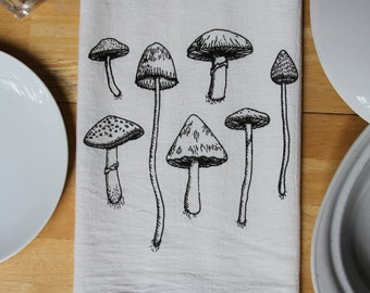 Mushroom Flour Sack Towel - Hand Screen Printed