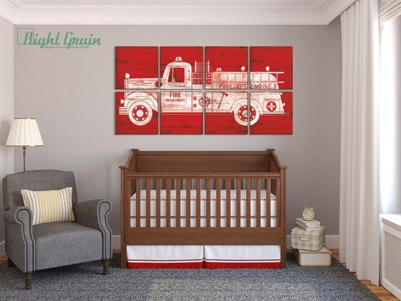Large fire truck engine wall art baby boy nursery by for Fire truck bedroom ideas