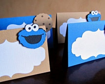 Cookie Monster Party Food Tent Cards, Cookie Monster Birthday Party, Cookie Monster Place Cards, Cookie Monster 1st Birthday, Set of 10