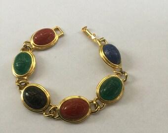 Vintage Scarab Colorful Autumn Colors Bracelet