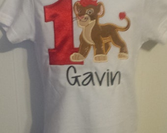 Lion Guard Kion Applique Birthday Number Shirt Tank Onesie