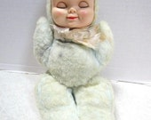 Wind up Musical Vintage Sleeping Baby doll, child security toy, stuffed plush toy, Love Worn, rubber face dolly, Sweet Shabby Lovey, Bantam