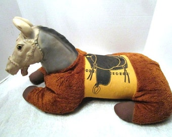 Vintage Large Plush Stuffed Floor Riding Horse Pony W/ Rubber Head, Old Fashioned Toy, Giddee Up, Saddle Brown Cowboy Kid