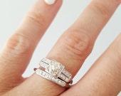 Antique wedding ring set, Art Deco engagement ring, antique wedding ring, engagement ring, JABEL antique ring