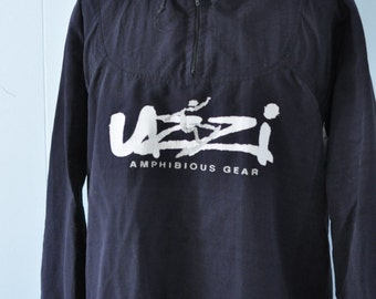 Surf Windbreaker by Uzzi Vintage 80s 90s Beach Jacket Black and White Baggy Medium Large