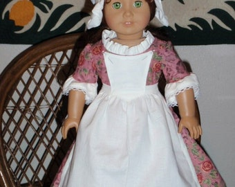 1770s 3 Pc Colonial Dress Pinner Apron Round Eared Cap for American Girl Felicity Elizabeth 18 inch doll