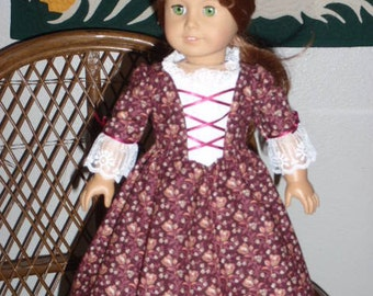 1770s Colonial Gown Dress & Pinner Cap for American Girl Felicity or Elizabeth or other 18 inch doll