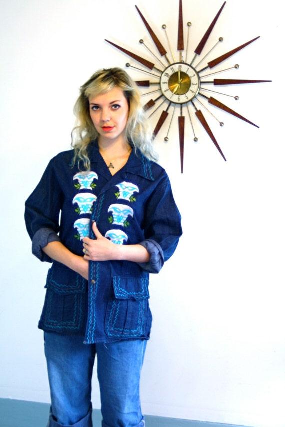 Embroidered Jean Jacket, Vintage 70s Jacket, Owl Embroidery, Ladies Denim Jacket, Womens jean Jacket, 1970s hippie jacket, Embroidered denim