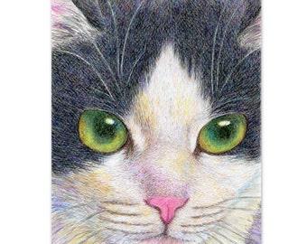 A3 print tuxedo cat drawing, digital print - closeup of a tuxedo cat - realistic drawing of cat face artwork , cat lover's gift, 8x10, 6x8