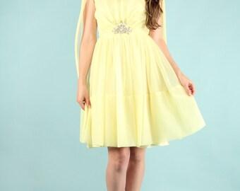 Vintage 60s Lemon Yellow Nylon Chiffon Mini Dress Gown Cocktail Prom S M