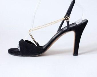 1970s Shoes / Vintage Garolini Black Suede Chain Strap Sling Back Heels, size 9N