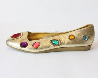 Vintage 1980s Jeweled Gold Lamé Flats, size 8