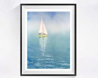 Blue Lake Painting Sailboat Art Watercolor Painting Print Ocean art sailing poster Nautical painting blue Boat watercolour Sail Boats