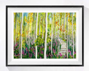 Dark Woods Forest Art Original Watercolor Painting Original tree landscape painting Wilderness nature painting yellow painting Outdoors