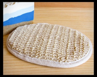 Bath Scrubber Buff Pad • Natural Ramie Exfoliating Scrub Pad • Spa Tool •  For Men, Women, Teens • Soap Accessory Gift Stocking Stuffer