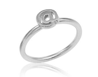 14K @ symbol, at Ring, Engagement Ring, @ Ring, Stackable Ring, Social Media Ring, Gold Ring, Free Shipping