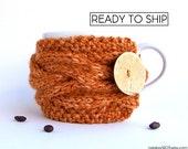 Coffee Cozy, Coffee Sleeve, Last Minute Gift, Pumpkin Coffee Mug Cozy, Tea Cozy, Coffee Cozy, Chunky Knit Knit Coffee Cozy Cup Sleeve