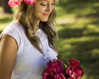 Camile Floral Crown Silk Flower Crown Maternity Photoshoot Wedding Accessory