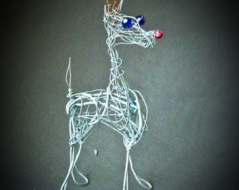 Christmas Reindeer Decoration,  Wire Ornament,  Trending Items, Holiday Table Decor, Metal Christmas Ornament, Ready to Ship