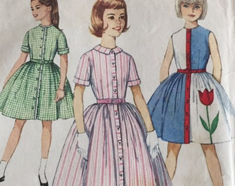 Vintage 1960s Simplicity  Pattern 4324 For Girls Dresses - Size 12 - Bust 30 - Uncut In Factory Folds