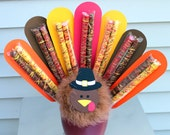 Turkey chocolate-dipped pretzel centerpiece hostess gift Thanksgiving dinner table