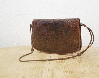70s alligator skin bag. hand tooled reptile leather bag. large leather bag