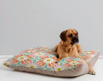 Floral Geometric Dog Bed Pillow // Pet Bedding // Animal Pillow // Modern Pet Bedding // Crazy Daisy Floral Geometric Design // Pink & aqua