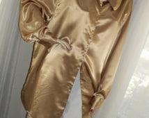 Vintage Gold Satin Huge Tunic Blouse One Size DVF Elegant 1930s Style