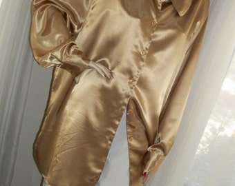 Vintage Gold Satin Huge Tunic Blouse One Size DVF Elegant 1930s Style