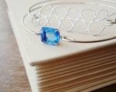 Silver Bangle Bracelet Set .  Light Sapphire Blue Jewel Bangle and Silver Raindrop Stacking Bracelet Set . Twilight Blue and Raindrop Set