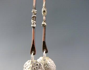 Silver & Copper Dangle Earrings, Mixed Metal Earrings, Sterling Silver Earwire, Ready to Ship